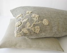 Lumbar pillow cover/cushion of linen fabric handmade crochet decorated. $57.00, via Etsy.
