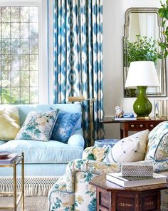 Montecito Home Decorated By Mark D Sikes With Blue And White Ikat Curtains An
