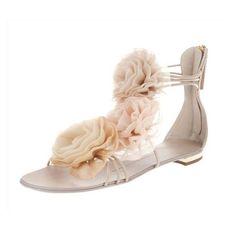 Floral Sandals T Flats Beige