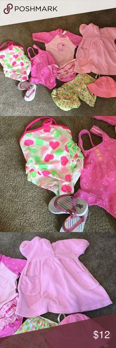 Swim essentials for summer! Bundle includes flip flops, hat, cover up, and 4 swimsuits.  Like: Nordstrom Gymboree Janie and Jack BabyGap Tom's Livy and Luca Mini Melissa Joyfolie Matilda Jane Splendid  Rowdy Sprout Mudpie Swim