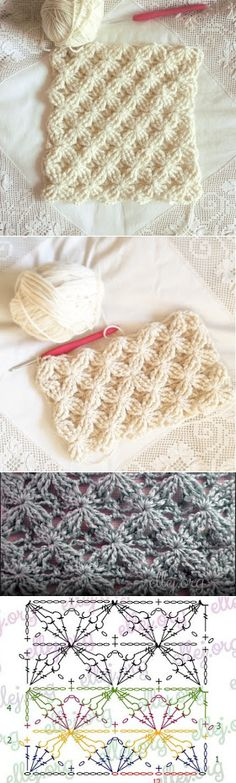 Discover thousands of images about ergahandmade: Crochet Stitch + Diagram + Video Tutorial Crochet Stitches Patterns, Knitting Stitches, Crochet Designs, Knitting Patterns, Knitting Ideas, Crochet Diagram, Crochet Chart, Crochet Motif, Crochet Diy