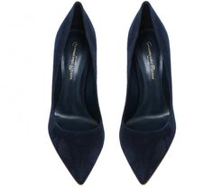 midnight blue suede pumps by Gianvito Rossi