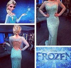 """Frozen """"Elsa"""" Inspired Evening Dress #frozendress #frozenelsagown #eveningdress #dress #promdress"""