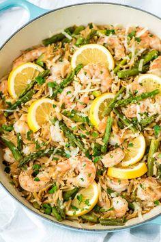 Lemon Shrimp Pasta with Orzo and AsparagusReally nice recipes.  Mein Blog: Alles rund um die Themen Genuss & Geschmack  Kochen Backen Braten Vorspeisen Hauptgerichte und Desserts # Hashtag