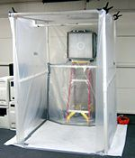 spray paint booth; get ideas from and improvise.  Front of completed 4' wide paintbooth