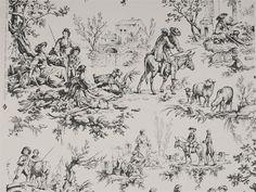 Landscape wallpaper LE MEUNIER Toiles de Jouy et Fleurs Collection by Nobilis