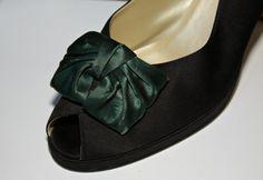 Nice Vintage Dark Green Satin Bow Shoe Clips   by estatesalegems, $3.50