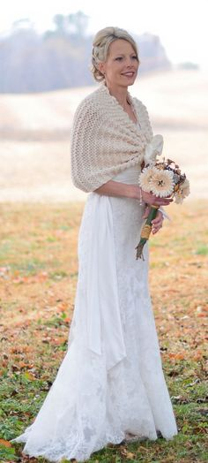 Wedding Shawl Ivory Rustic Shrug Fall Bridal Bride Cape Country Accessory Summer