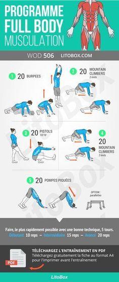 Programme complet (full body) qui travaille tout le corps à la maison.  Musculation daf1c4cd68c