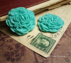 4pcs Matte Turquoise  33mm Quality Resin Carnation  by CMVision