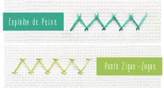 Aprenda a bordar os pontos Espinha de Peixe e Zigue-Zague.