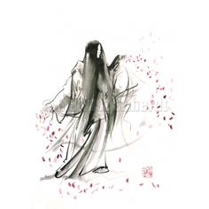 watercolor paper > geisha > Spring woman geisha Japanese painting