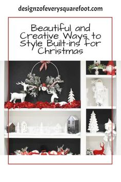 Built-ins are super fun to decorate this Christmas. You can style these shelves in many different ways and in many different color schemes. Get into the holiday spirit by decorating your built-ins or even shelf décor!! #christmas #christmasdecor #christmasbuiltins #christmasfireplace #Fireplacedecorforchristmas #christmasdecorideas #christmascrafts #holidaydecor