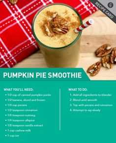 A dessert smoothie you'll love all year round #healthy #smoothie http://greatist.com/eat/recipes/pumpkin-pie-smoothie (fall recipes pumpkin)