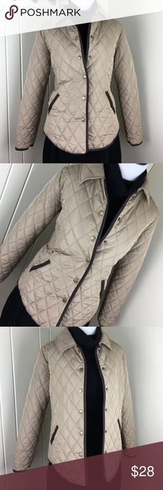 Khaki tan puffer down like snap jacket Brand new with tags. 100% polyester. Size medium but I definitely think that this could fit a large as well because it is very roomy! Adorable, and trimmed in brown. Fresh Jackets & Coats