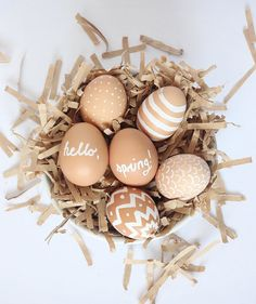 Natural Easter Eggs | From marble to ombré to black-and-white, these decorated eggs are on trend. Many of these eggs require permanent marker and other toxic supplies, so for safety, you should use them for decorating, not for eating.