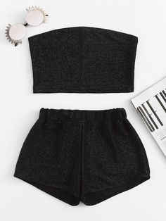 Sparkle Bandeau Top With Shorts – Outfit Ideas Pajama Outfits, Lazy Outfits, Cute Girl Outfits, Teen Fashion Outfits, Sporty Outfits, Teenager Outfits, Cute Casual Outfits, Outfits For Teens, Summer Outfits