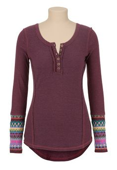High-Low Sweater Sleeve Henley top (original price, $29) available at #Maurices