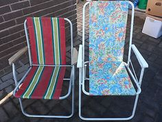 Pair Of Vintage #retro #striped/floral Deck Chairs Fold Up Chairs Camping  #festiv, View More On The LINK:  Http://www.zeppy.io/product/gb/2/132066526376/