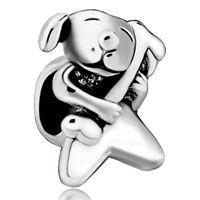 Silver Cute Dog Charm Bracelet Hold Bone European Bead Bracelet