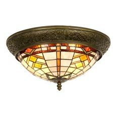 "Deckenlampe, Deckenleuchte im Tiffany-Stil ""Wyber Ring"" 19x38cm von Lumilamp - (same as living room) 100 EUR"