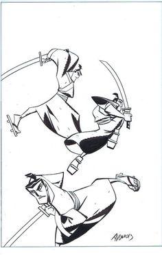 SAMURAI JACK ORIGINAL COVER ART MICHAEL AVON OEMING idw cartoon network - NR