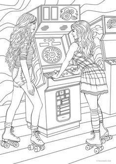 Skaters - Printable Adult Coloring Page from Favoreads (Coloring book page for adults and kids, Coloring sheets, Coloring designs) Printable Adult Coloring Pages, Adult Coloring Book Pages, Cute Coloring Pages, Animal Coloring Pages, Coloring Pages To Print, Free Coloring, Coloring Sheets, Coloring Books, People Coloring Pages