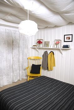 Diy Unfinished Basement With Temporary Fabric Ceiling