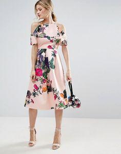 ASOS | ASOS Scuba Ruffle Crop Top With Border Floral Dress