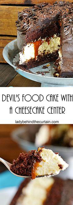 Devil's Food Cake with a Cheesecake Center | Chocolate Cake, Cheesecake, Easy Recipe, Easy Dessert Recipe