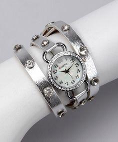 Silver Rhinestone Wrap Watch    $17.99
