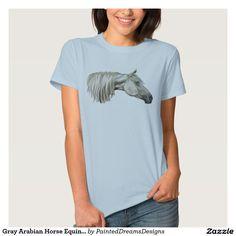 Gray Arabian Horse Equine Portrait T-Shirt