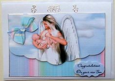 Baby with Angel Male on Craftsuprint designed by Vicki Avcin - made by Mary Murphy - Printed on good quality card paper, cut out and layered the elements I trimmed in silver peel off around the edges and added the caption  - Now available for download!