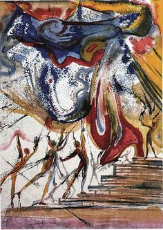 So exhausted I feel my mind is the polycolored extatic misty form aimed at by the spears of a party of prehistoric hunters - salvador dali