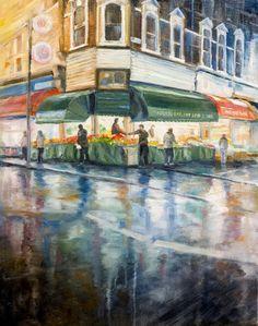 Eril Nisbett - Brixton Markets - 2017 Oil on canvas board. Landscape Art, Landscape Paintings, Brixton Market, Drizzling Rain, Painter Artist, Oil Painters, Canvas Board, Australian Artists