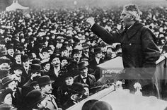 German Socialist Karl Liebknecht (1871 - 1919), co-founder of the Spartacist League, addresses a crowd in Berlin at the outbreak of the German Revolution, 1918.