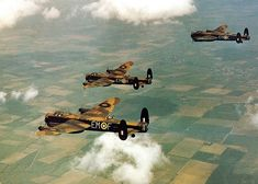 Three Avro Lancaster of No 207 Squadron RAF, over the English countryside - World War My father was the pilot of top Lancaster EM-C Ww2 Aircraft, Military Aircraft, Military Jets, Stirling, Ala Delta, Lancaster Bomber, Ww2 Planes, Vampire, Royal Air Force