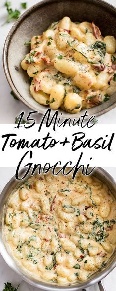 You will love this creamy gnocchi with sun-dried tomatoes and basil! It's a super easy and decadent 15 minute recipe that you'll want to devour again and again. #onepanmeal #gnocchi #dinnerrecipes #vegetarianrecipes