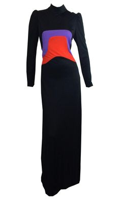 Graphic Purple Red and Black Crepe Jersey Maxi Dress circa 1960s Dorothea's Closet Vintage Clothing