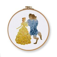 Geometric Belle cross stitch pattern - Disney Princess Beauty and the Beast Floss: DMC Colors: 45 Stitch size: 90 x 104 Stitches: full stitch, back stitch, three quarter stitch * Suggested fabric and size: Fabric: 14 count Designed area: 6.07 x 7.00 ------------------ PDF pattern