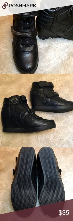 Wanted brand black sneaker boots with Velcro strap Excellent condition black lace up sneaker boots with velcro, metal studded straps. Worn 2-3 times. No scuffs. True to size. 3 inch heel. Medium width. Wanted Shoes Ankle Boots & Booties