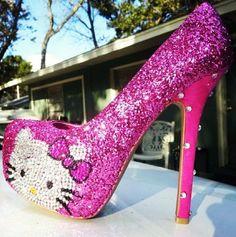 Online Shop New handmade high heels pink cute hello kitty Swarovski Crystal sparkly wedding shoes Unique Shoes, Cute Shoes, Me Too Shoes, Hello Kitty Games, Sanrio Hello Kitty, Sparkly Wedding Shoes, Sparkly Heels, Pink Sparkly, Sexy Heels