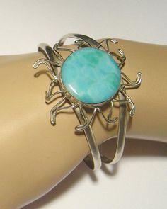 Fashion Jewelry Faux Turquoise cuff marked Mexico 925 Sun motif #Mexico #Cuff