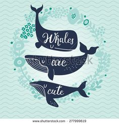 Whales are cute. Awesome whales on marine background with floral wreath in vector. Lovely childish card in stylish colors