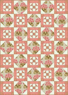 Philadelphia Pavement is a patchwork quilt block that finishes at square. Use our easy quilt block pattern to make these lovely blocks for your next quilting project.: Make a Philadelphia Pavement Quilt Quilt Block Patterns, Pattern Blocks, Quilt Blocks, Quilting Tutorials, Quilting Projects, Quilting Designs, Quilting Ideas, Pink Quilts, Lap Quilts