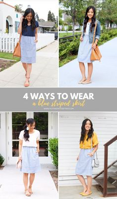 1e3361e2316 Four Outfits with the J.Crew Factory Blue Striped Skirt Blue And White  Skirts