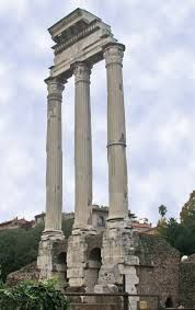 """The Temple of Castor and Pollux is an ancient edifice in the Roman Forum, Rome. It was originally built in gratitude for victory at the Battle of Lake Regillus (495 BC). Castor and Pollux (Greek Polydeuces) were the Dioscuri, the """"twins"""" of Gemini, the twin sons of Zeus (Jupiter) and Leda. Their cult came to Rome from Greece via Magna Graecia and the Greek culture of Southern Italy"""