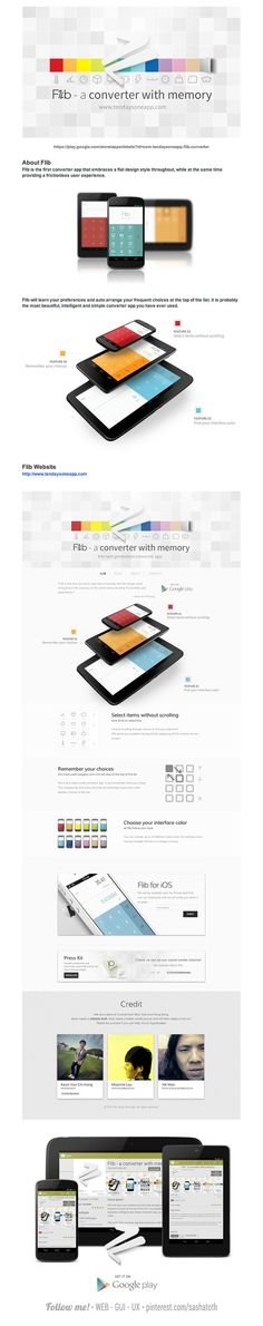 """Flib - A converter with memory *** """"Flib will learn your preferences and auto arrange your frequent choices at the top of the list. It is probably the most beautiful, intelligent and simple converter app you have ever used. It is the first converter app that embraces a flat design style throughout, while at the same time providing a frictionless user experience. It is also the first product from Ten Days One App project."""" by Kevin Hon Chi Hang, via Behance *** #app #gui #ux #android"""