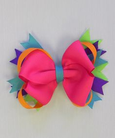 Pink Rainbow Bow Clip | Daily deals for moms, babies and kids