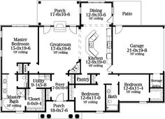 Colonial European House Plan 40021 Level One